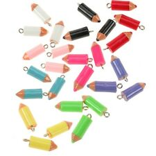 4 Resin Colouring Coloured Pencil Charms With Silver Top Loop 20x8mm Colours x 9