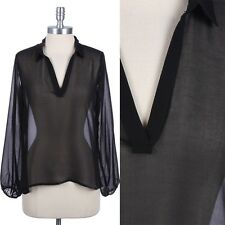 Solid High Low Hem Pull Over Collared V-Neck Long Sleeve Sheer Mesh Top S M L