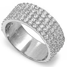 BEAUTIFUL WEDDING ANNIVERSARY BAND CZ .925 Sterling Silver Ring Sizes 6-9