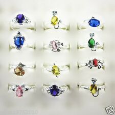 Wholesale 10/20/50 Pcs Mixed Color CZ 925 Silver Plated Rings 6 to 7.5