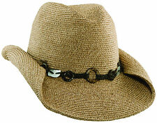Scala by Dorfman Pacific Womens Cowboy Hat with Mother of Pearl Beaded Detail