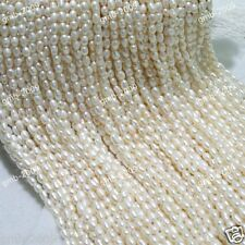 "Genuine 5-6mm White Natural Freshwater Cultured Rice Pearl Loose Beads 15""AAA"