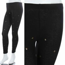 Cross Studded Front Black Span Leggings Solid Skinny Pants Cotton S M L