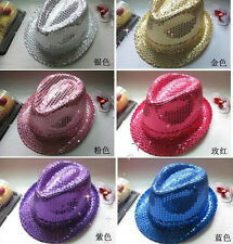 Fashion Kids Adult Unisex Glitter Sequins Hat Dance Show Party Jazz Hat