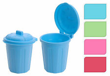 Pack of 2 Plastic Mini Office Desk Storage Dustbin Teabag Bin with Hinged Lid