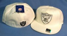 OAKLAND RAIDERS WHITE DAZZLE TEAM LOGO  FLAT BRIM  FITTED  NFL CAP BY REEBOK