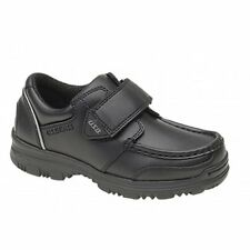 US Brass Boys Junior Kid Touch Close Faux Leather Smart Comfy School Shoes Black