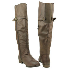 New Women's Ruched Over The Knee Riding Boots w/ Zipper Buckle Brown Sz 5.5-10