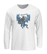 Skeleton Riding A Dragon Long Sleeve T-Shirt Biker Flying Mythical Creature