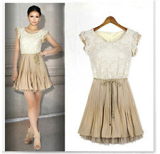 Fashion Beige Women Sleeveless Lady Lace Pleated Skirt Party Dress Size S-XL