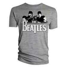 Official T Shirt THE BEATLES Grey BAND OVER LOGO All Sizes