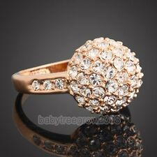 18K Rose Gold GP Swarovski Crystal Ball Fashion Ring 195
