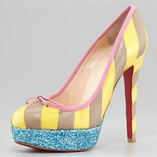 Christian Louboutin FORAINE Striped Glitter Platform Heels Pumps Shoes $995