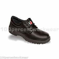 V12 Vtech Safety V6411 BEAVER Work Shoes Black Leather Formal Toe Cap Metal Free