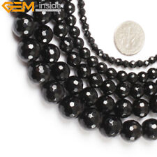 "Natural Round Black Faceted Agate Beads Jewelry Making Gemstone Strand 15"" Pick"