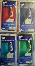 8 Piece Geometry Maths Set & Pencil Case (Green, Red, Blue or Purple)
