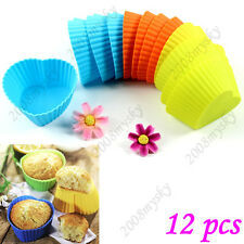 12 pcs Soft Silicone Muffin Round Cake Cupcake Liner Chocolate Baking Cup Mold