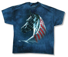 """THE MOUNTAIN """"FLAG HORSE"""" NAVY BLUE TIE DYE T-SHIRT NEW OFFICIAL ADULT AMERICAN"""