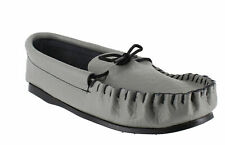 Mens LEATHER HAND MADE CASUAL MOCCS MOCCASINS SLIPPERS SHOES sizes 6 to 11 GREY