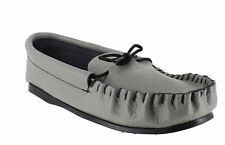 Mens Grey Leather Hand Made Casual Moccs Moccasins Slippers Shoes Sizes 6 to 12