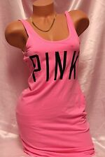 """Victoria's Secret """"PINK"""" Logo Bright Pink Sexy Stretch Tank Cover Up Dress"""