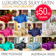 Silk Soft Satin AUS Size Quilt Cover Set or Flat,Fitted,Pillowcases Sheet set