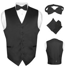 Men's Dress Vest BOWTie BLACK Color Bow Tie Set for Suit or Tuxedo