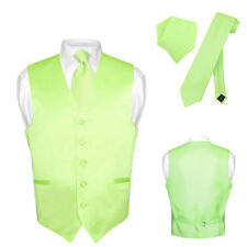 Men's Dress Vest NeckTie LIME GREEN Neck Tie Set for Suit or Tuxedo