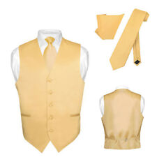 Men's Dress Vest NeckTie GOLD Color Neck Tie Set for Suit or Tuxedo