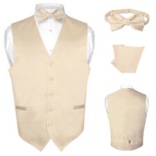 Men's Dress Vest BOWTie Light BROWN Bow Tie Set for Suit or Tuxedo