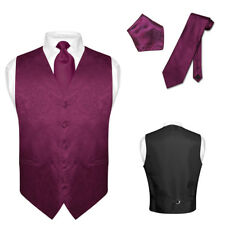 Men's Paisley Design Dress Vest & NeckTie EGGPLANT PURPLE Color Neck Tie Set