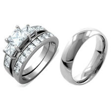 3 PCS Stainless Steel His & Her Engagement/Wedding Matching Band Rings Set