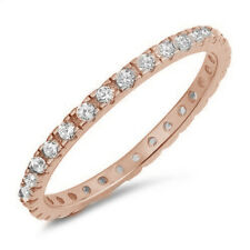ROSE GOLD WHITE CZ ETERNITY BAND .925 Sterling Silver Ring SIZES 4-10