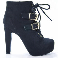 Sunny Black I-Suede Chunky Heel Punk Rock Platform Ankle Lace-Up Bootie Buckle