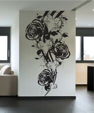 Vinyl Wall Decal Sticker Roses and Hearts Design 1054s 32W x 60H