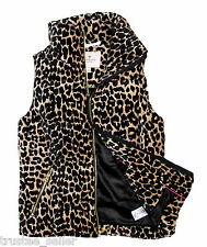 Juicy Couture Hot Women's Leopard Puffer Down Vest TOP Jackets Zip Coat