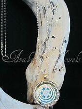 MI MILANO COIN/DISC/MONEDA GOLD/CRYSTAL/TURQUOISE/NECKLACE/PENDANT/KEEPER/LOCKET