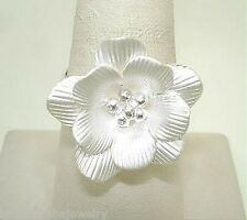 Italian Designed 100% Hand-Created Sterling Silver Satin White Lily Flower Ring