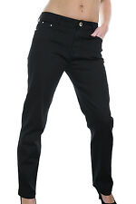 NEW (1394-1) Plus Size Stretch Cotton Jeans Black Diamante Button 10-20