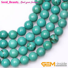 New Round Natural Smooth Old Turquoise Gemstone Jewelry Making Beads Strand 15""