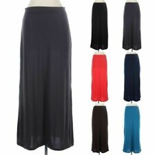 Solid Long Maxi Skirt Plain Stretchable Waistband Casual Straight Basic S M L
