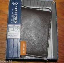 Stafford Mens Brown Extra Capacity Slimfold Genuine Leather Wallet NWT