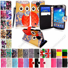 Samsung Various Phones Book Type Card Slots Wallet Flip Case Cover+Guard+Stylus