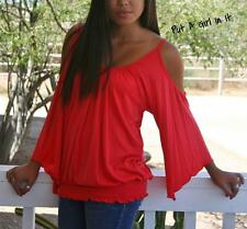 PLUS SIZE SEXY SOLID CORAL PEEP WING COLD SHOULDER TUNIC SHIRT BLOUSE 1X 2X 3X