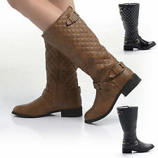 NEW QUILTED BUCKLE RIDING KNEE BOOT FLAT FUR LINED TAN BLACK WINTER LADIES