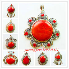 XLZ-62 Beautiful Red Turquoise Pendant Bead 1Pcs or 8Pcs