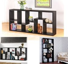 Wood Book Storage Case Shelf Wooden Staggered Display Cube Wall Bookshelf