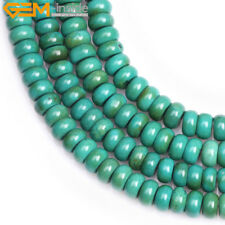 """Green Turquoise Stone Spacer Beads For Jewelry Making 15"""" Rondelle Loose Beads"""