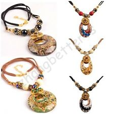 New Vintage Crystal Colorful Paintings Glass Lucky Adjustable Pendant Necklaces