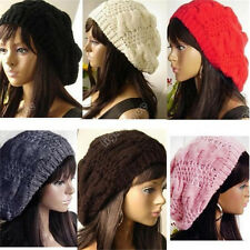 WARM WINTER WOMEN BERET BRAIDED BAGGY KNIT CROCHET BEANIE HAT SKI CAP 0010